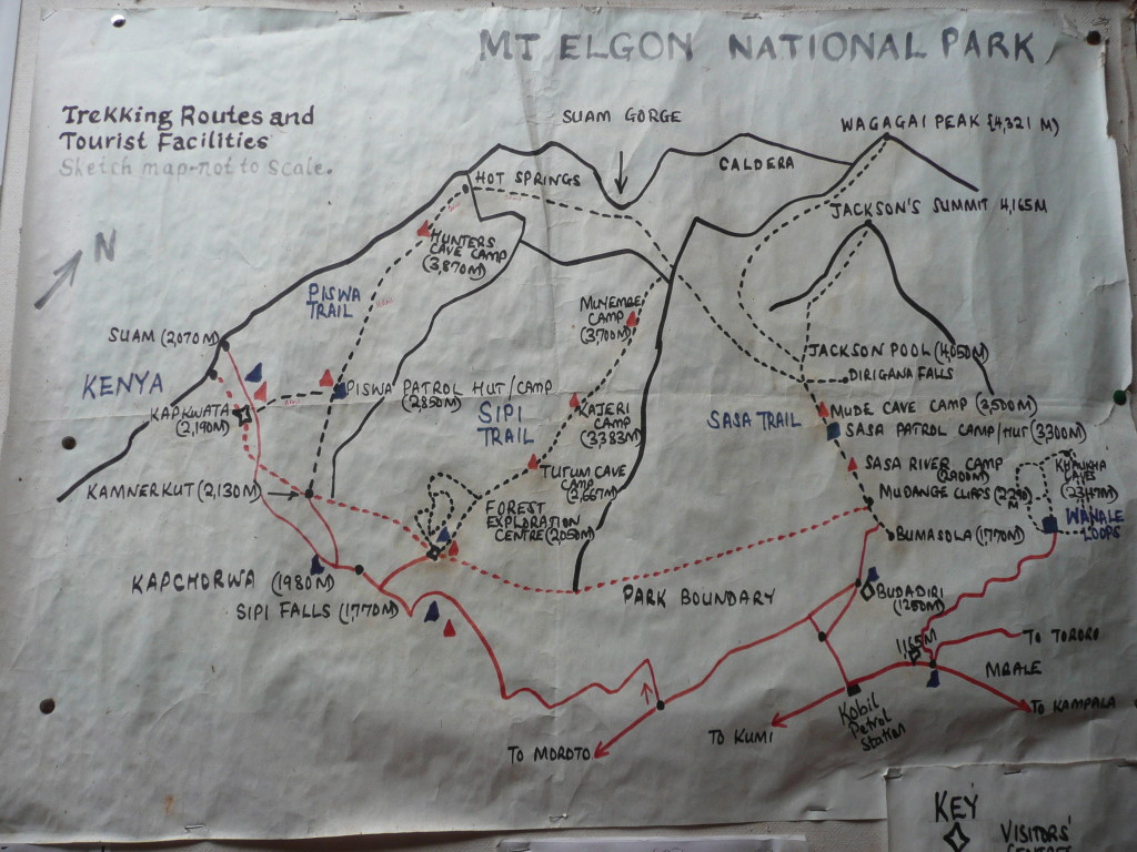 Trail map of Mount Elgon.