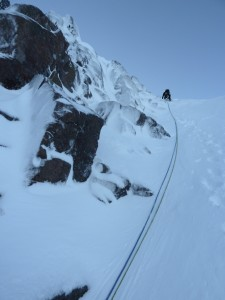 Ethan leading up Aladdins Couloir.