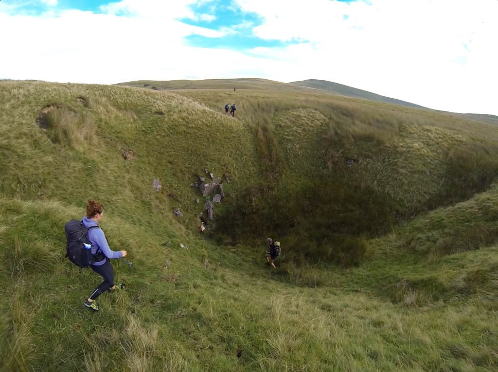 On our way down the sinkhole.