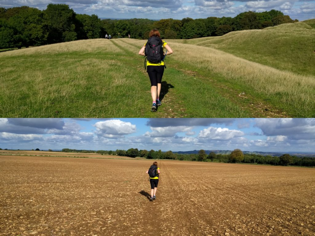 Janneke running along the Cotswolds Way.