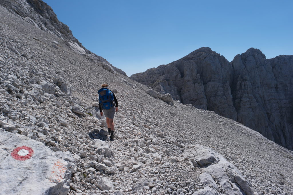 Walking across the scree