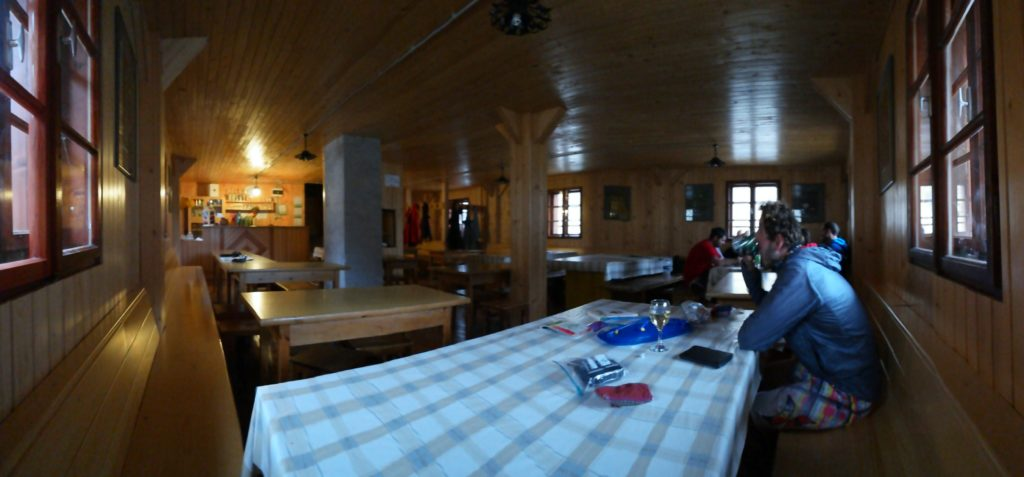 Inside the hut for the third night