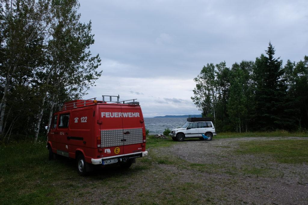 Our van and Yuki's car