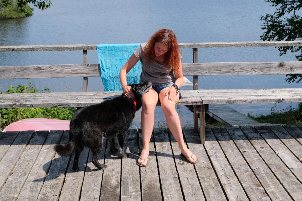 With Karin's dog
