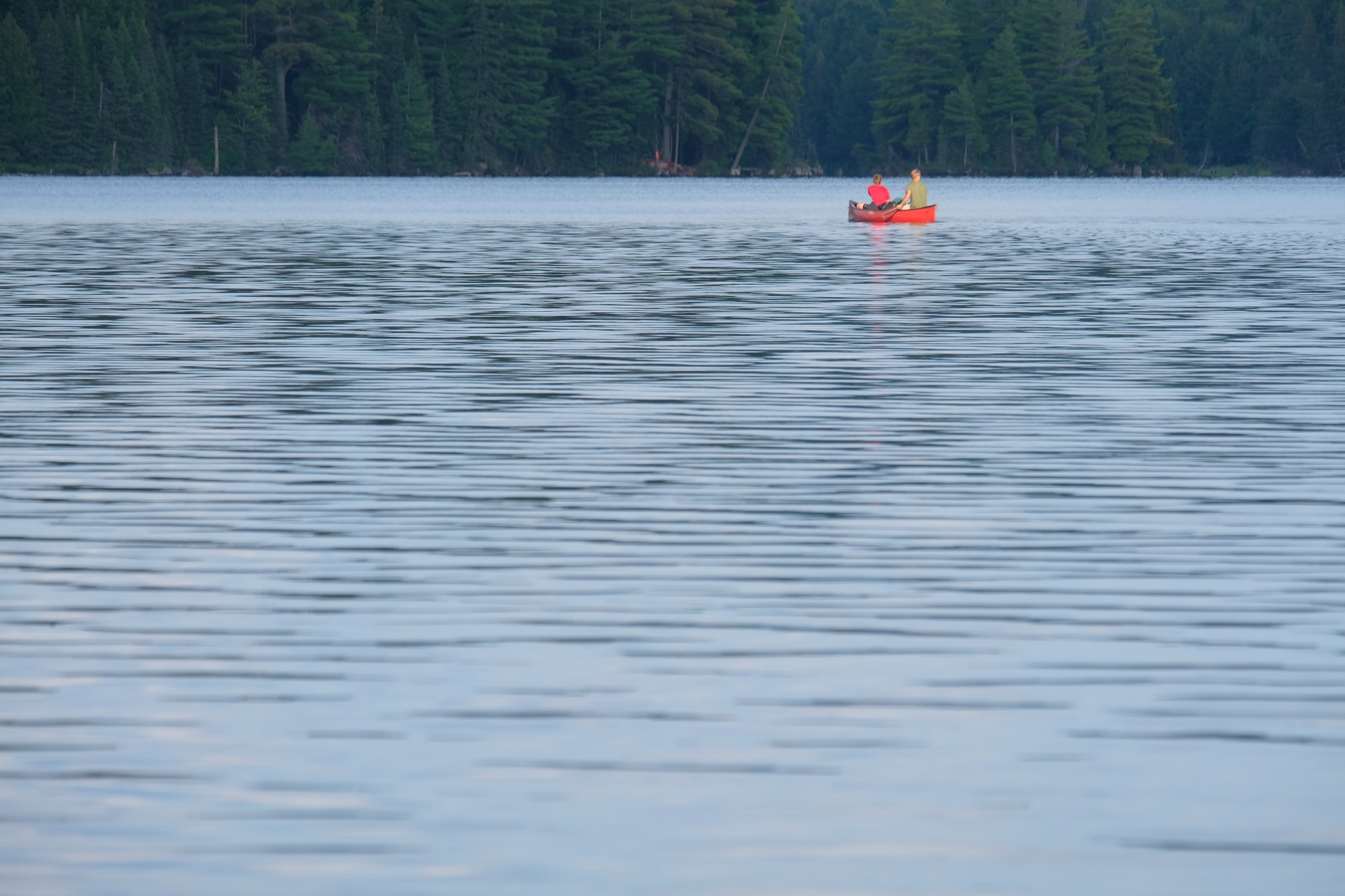 A couple of late arrivals to the Burnt Island Lake. You have to book your camp spot on the lake, but which one you get is decided on a first come first serve basis. If you're late, you may have to canoe a couple of extra kilometres until you find an empty spot...