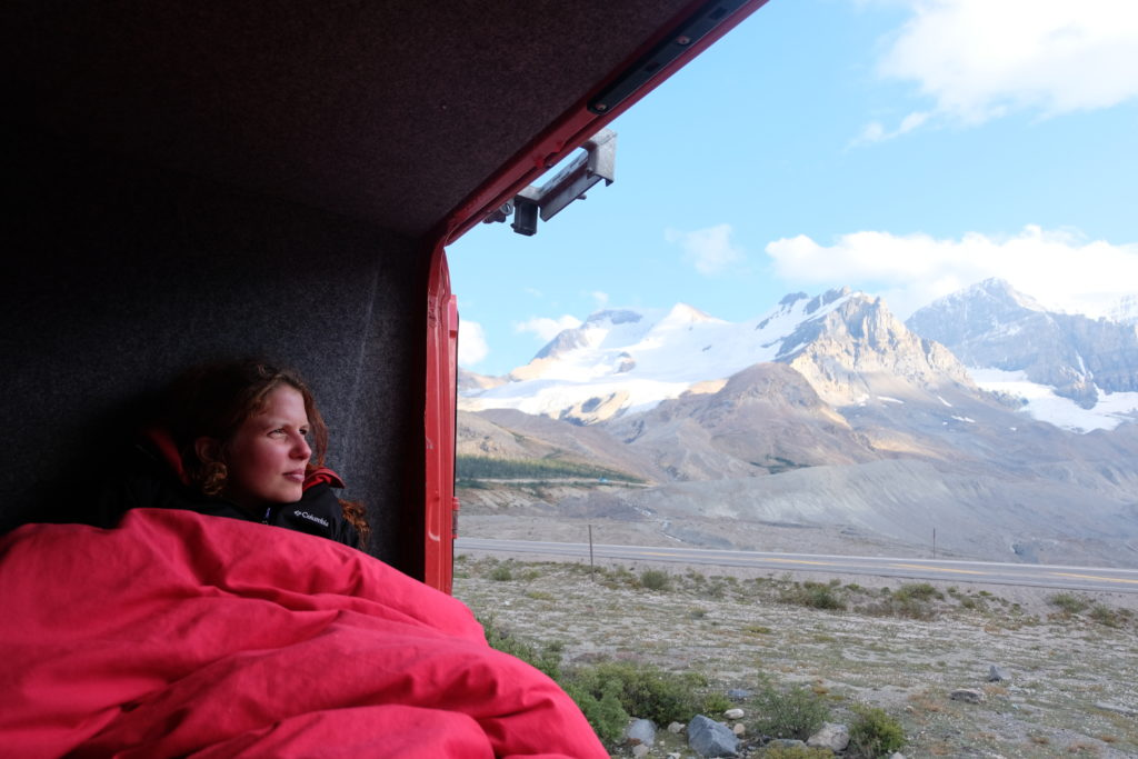 Looking out at the glaciers at Icefields Parkway