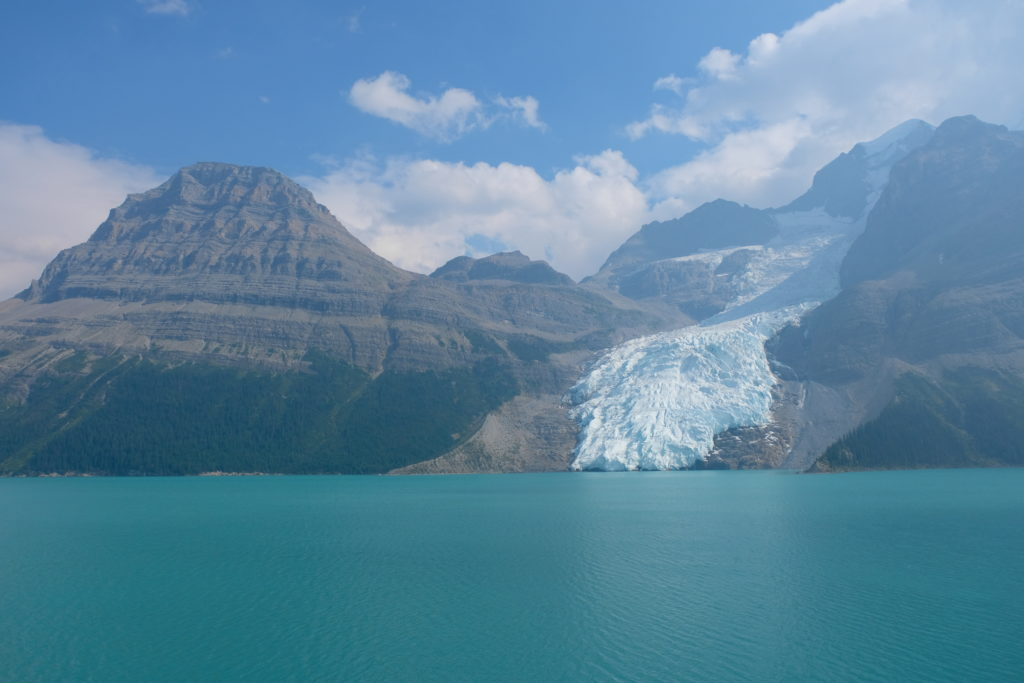 Mount Robson and Berg Lake in the haze